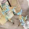 Новое Поступление Очаровательный Синий Кристалл Диадемы для Невесты Великолепная Бабочка Горный Хрусталь оголовье Свадьба Корона Аксессуары Для Волос