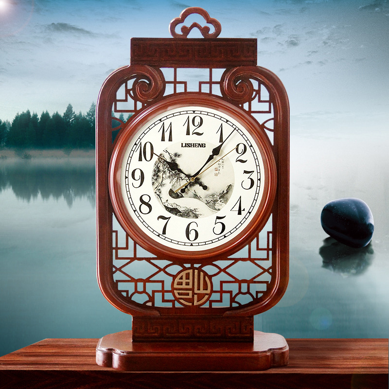 Chinese Livingroom Wood Clock Red Office Decoration Classic Desk Clocks New Bedroom Quiet Quartz Watches Wooden Gift Clock W104 red clocks page 2
