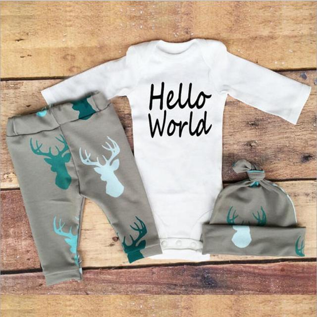 Nuevo llega el Bebé Recién Nacido Niñas Sistemas de la Ropa de impresión de Los Ciervos de Algodón Cap & Mono de la manga larga y pantalones 3 unids/set