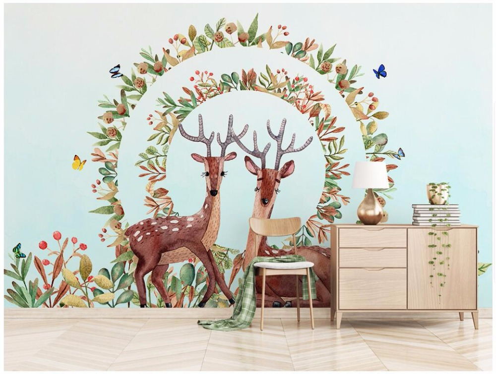 3d room wallpaper custom photo wallpaper European hand-painted flowers and elk Home decor 3d wall murals wallpaper for walls 3 d custom 3d elegant hand painted flowers