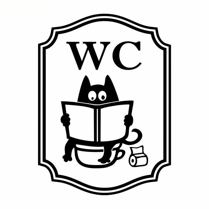 YOYOYU Vinyl Wall Decal WC Funny Cat Washroom Sign Small Objects Interior Room Home Decoration Door Stickers FD468