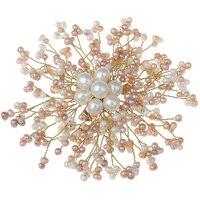 Handmade DIY Jewelry Brooches Women Wedding Bridal Natural White Pink Freshwater Pearl Brooch Flower Charm Shirt