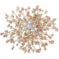 YYW Handmade DIY Jewelry Brooches Women Wedding Bridal Natural White Pink Freshwater Pearl Brooch Flower Charm Dress Brooches