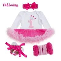 2015 Number 1 Print Baby Baptism Dresses Birthday Baby Girls Dress Cute Kid Clothing Tutu Flower