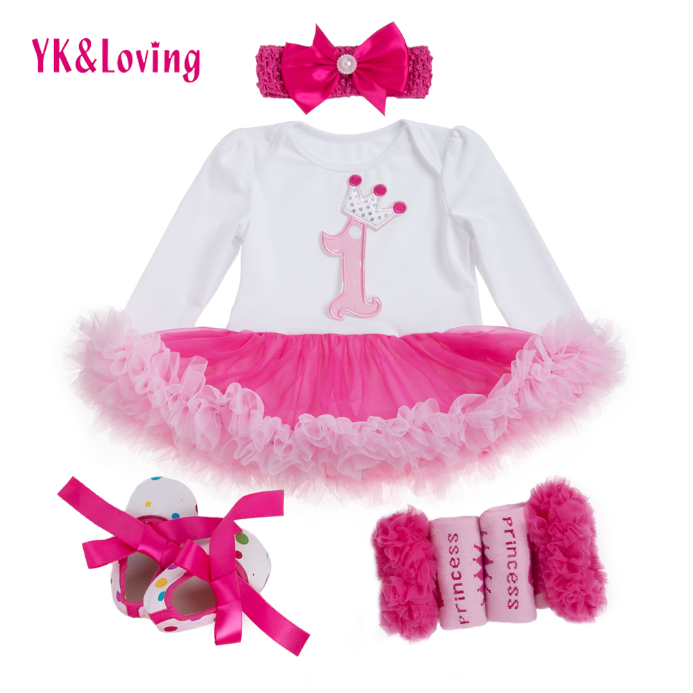 1-ші қыздар Bodysuit Baby Girl Clothes Baptism Dresses Pink Long Sleeve Dress baby body Киім Tutu Clothes 4pcs / set
