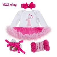 1 st Girls Bodysuit Baby Girl Clothes Baptism Dresses Pink Long Sleeve Dress baby body Clothing Tutu Clothes 4pcs/set