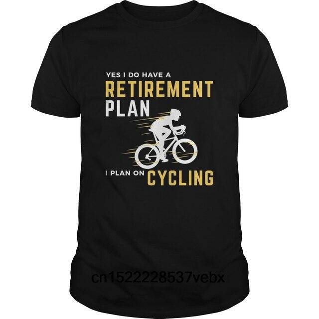 30e9a06225b645 Śmieszne mężczyźni t shirt kobiety nowość tshirt Plan emerytalny śmieszne  rower jazda na rowerze humoru graficzne