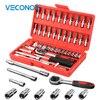 Veconor 46pc High Quality Socket Set Car Repair Tool Ratchet Set Torque Wrench Combination Bit A
