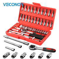 Veconor 46pc High Quality Socket Set Car Repair Tool Ratchet Set Torque Wrench Combination Bit a set of keys Chrome Vanadium