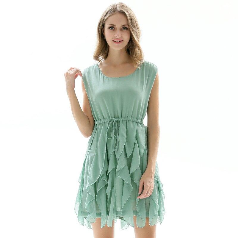 Elegant Mint Green Dress Women Sleeveless Chiffon Dresses Summer Casual Irregular Vestidos 2019
