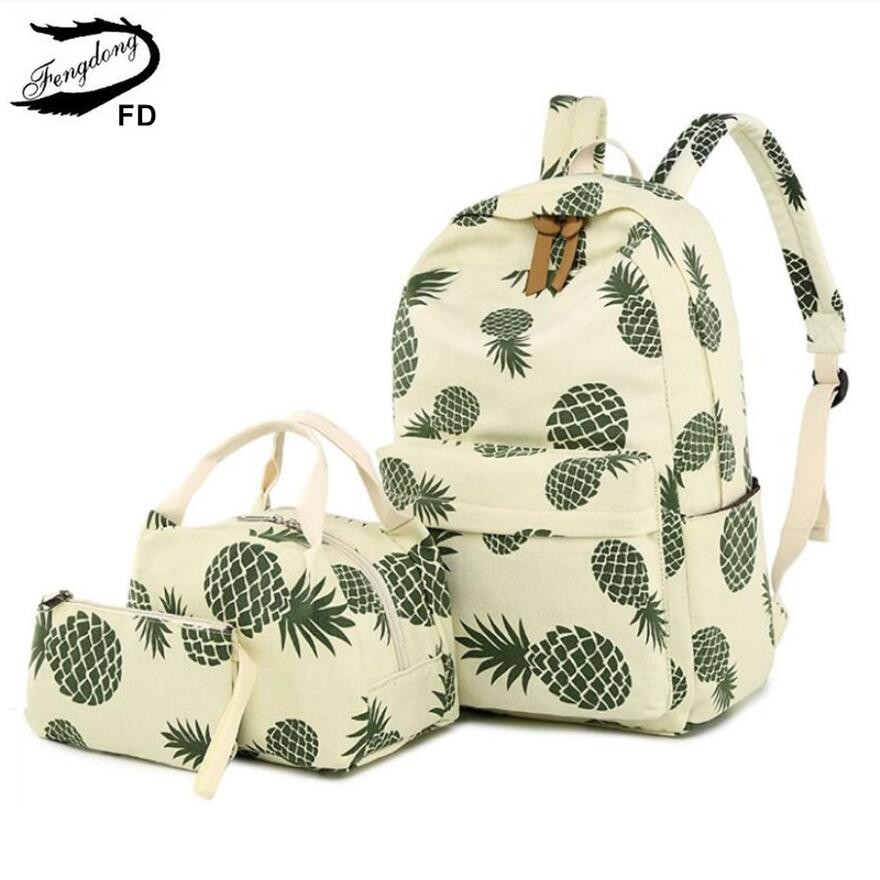 FengDong 3pcs/set Cute Pineapple Printing Backpack Children School Bags For Girls Pen Pencil Bag Child Girl School Backpack Set