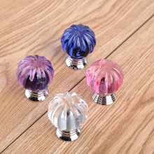 30mm glass crystal pumpkin drawer cabinet knobs pulls silver clear blue pink purple dresser cupboard door handles knobs modern