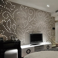 Creative luxury European style 3d circle dot acrylic mirrored decorative stickers for TV background backdrop interior decor R092