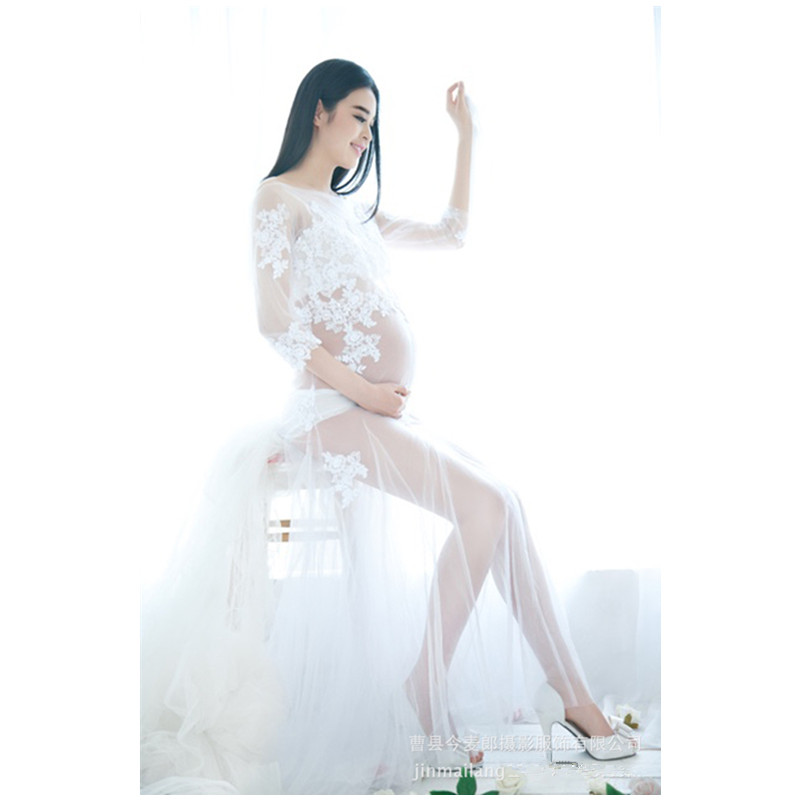 2016 White Lace Maternity Photography Props Dresses Elegant Fancy Pregnancy Clothes For Pregnant Women Photo Shoot Long Dress envsoll pregnant women photography props long lace dresses fancy maternity photo shoot long sleeve v neck black dress clothes