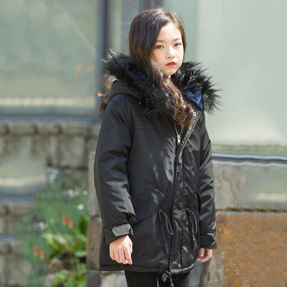 Autumn Winter Jacket Children Girls Green Black Chritmas Fur Hooded Long Sleeve Solid Coat For Girls With String Warm Clothing недорго, оригинальная цена