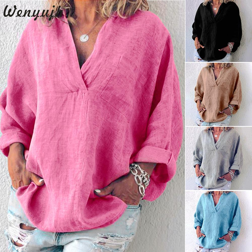 2019 Women Cotton And Linen Casual Solid Color  Shirt Ladies Autumn Long Sleeve Shirt Loose V-neck Blouses Tops