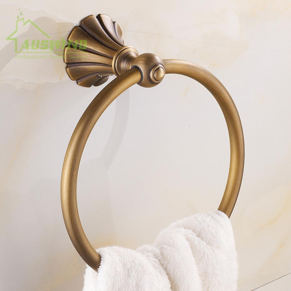 European Antique Solid Brass Carved Towel Ring Luxury Bronze Wall Mounted Bathroom Towel Rack Bathroom Accessories Sets