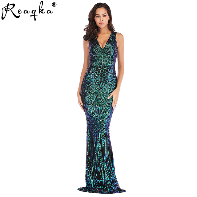 2019 New Arrivals Sleeveless Mermaid Sequined Long Dress Luxury Banquet Beading Appliques Fishtail Party Fromal Maxi Dresses