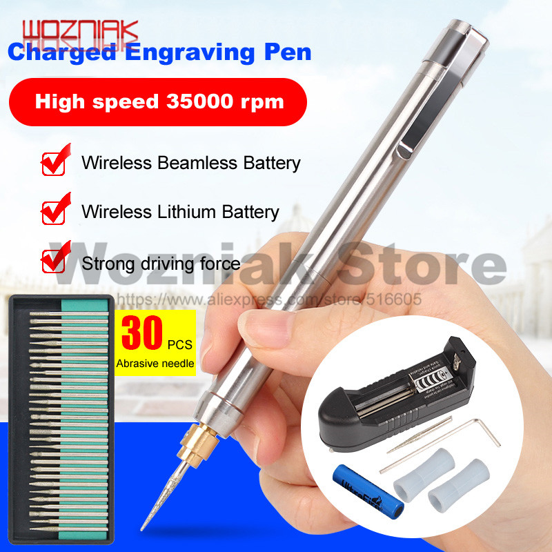 WOZNIAK Charging Mini Small Electric Mill Jade Play Metal Electric Engraving Pen Lettering Pen Burin Grinding Polishing Machine