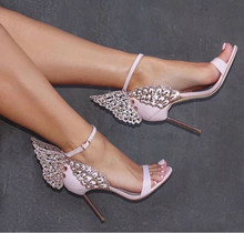 Hot selling high heel sandal 2017 sexy crystal embellished sandal open toe  butterfly ankle strap sandal woman thin heels sandal