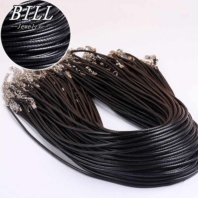 N697 2mm Black PU Leather Cord Rope Twisted Braided Chain Necklace Silver Clasp String Ropes Men Women gargantilha Big Promotion