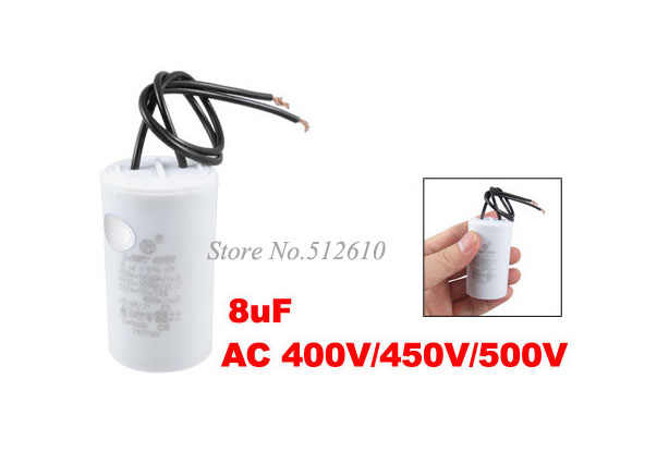 Best Promotion Wholesale Price AC 400V/450V/500V 8uF 2-wire Motor Running Capacitor for Washing Machine Washer  5PCS