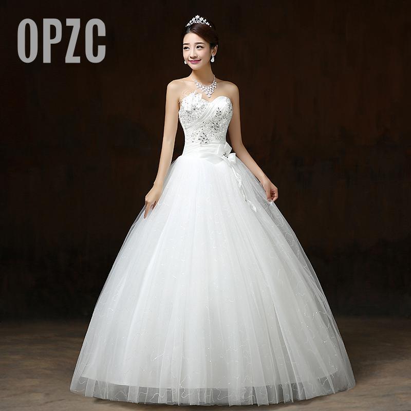 Real Photo Customizd 2017 Wholesale Chinese Cheap New Korean Style Sweet Princess Diamond White Wedding Dress Vestido De Noiva