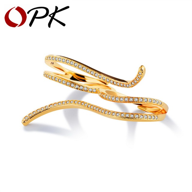 Vintage 2 Fingers Rings For Women Gold Color Micro Paved Zirconia Party Dating Bridesmaid Statement Jewelry Gift Band  KJ066