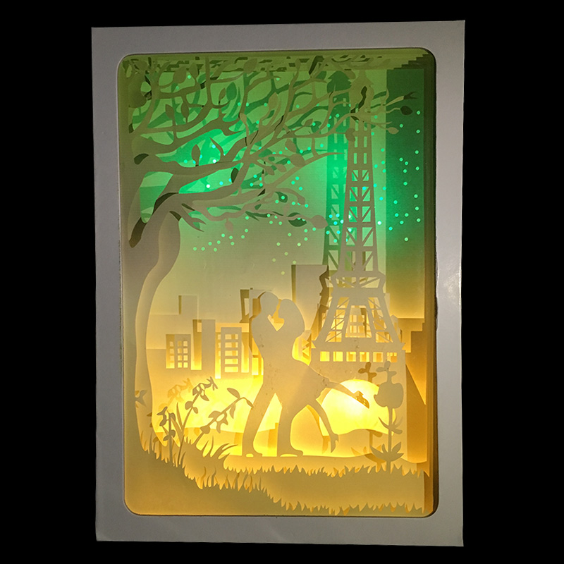 Valentine's Day Eiffel Tower in France stars and moon night Design Paper Lantern 3D Papercut Light for Girl gift wedding