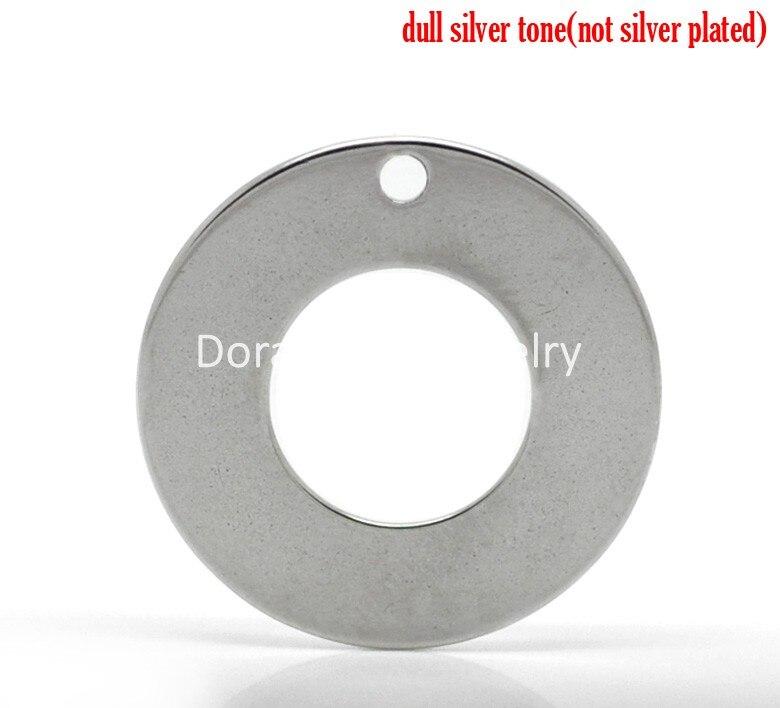 92221c50faf0 DoreenBeads 20 piezas plata Tono de acero inoxidable en blanco Stamping  etiquetas colgantes círculo redondo 20mm (6 8 ) (B19196) yiwu