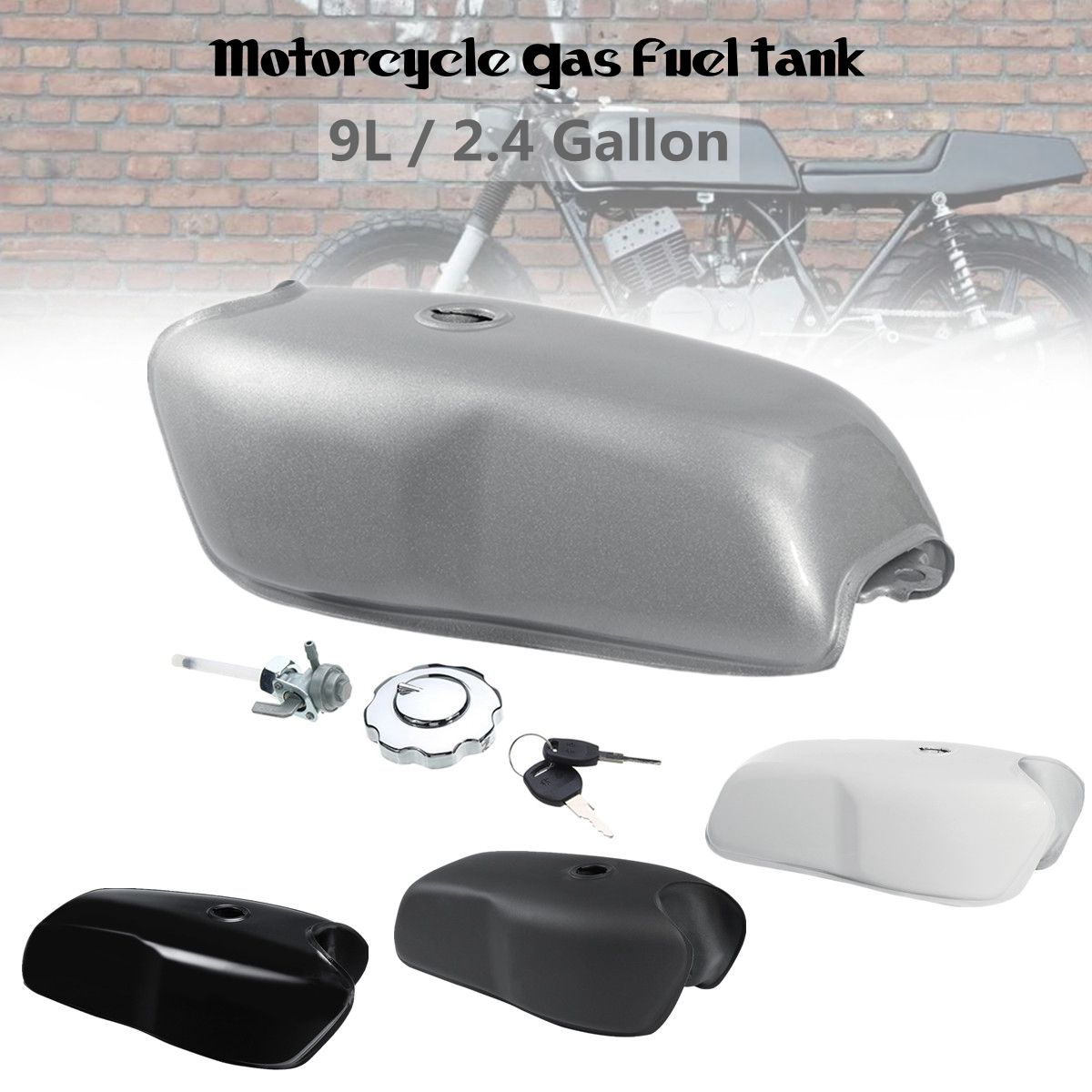 Motorcycle 9L 2.4 Gallon Petrol Fuel Gas Tank Cafe Racer Vintage For Yamaha for Honda for BMW motorcycle rafe racer fuel gas cap petrol tank cover aluminum for ducati scrambler