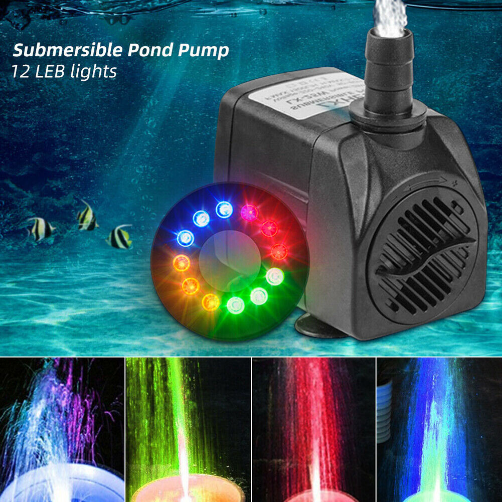 Submersible Water Pump With 12 LED Lights For Fountain Pool Garden Pond  CLH@8