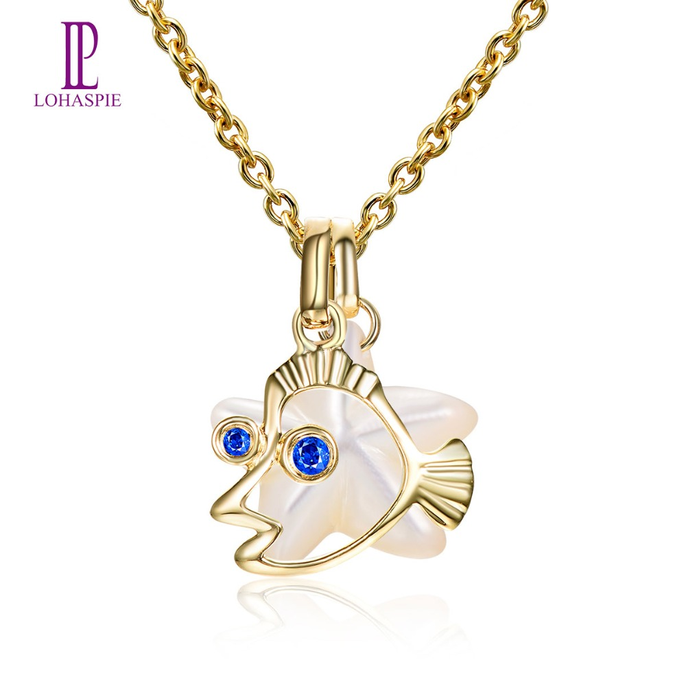 Lohaspie Ocean Party Natural Sapphire Pendant Solid 9k Yellow Gold Mother of Pearl Star Fish Fine Pearl Jewelry women's Gift New lohaspie ocean party natural sapphire pendant solid 9k yellow gold mother of pearl starfish fine fashion stone pearl jewelry new