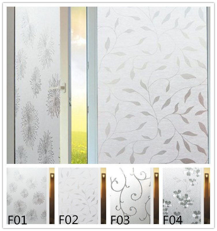 Non-adhesive Window Film Long-lasting Quick DIY 40 x 200 cm Easily Remove Etched Sunflower Branch Decoration for UV Rejection