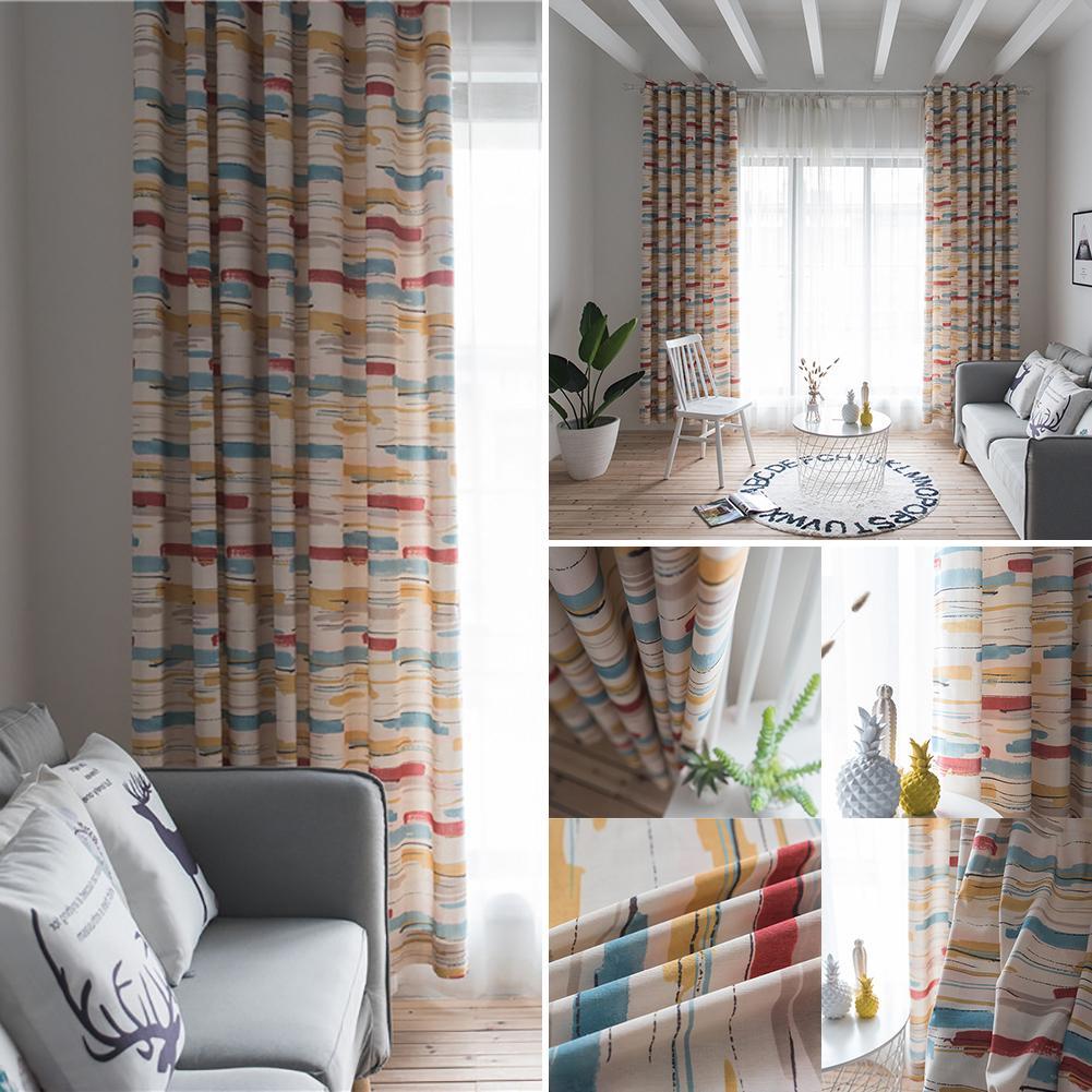 1*2.8m Abstract Striped Patio Door Window Curtain Grommet ...