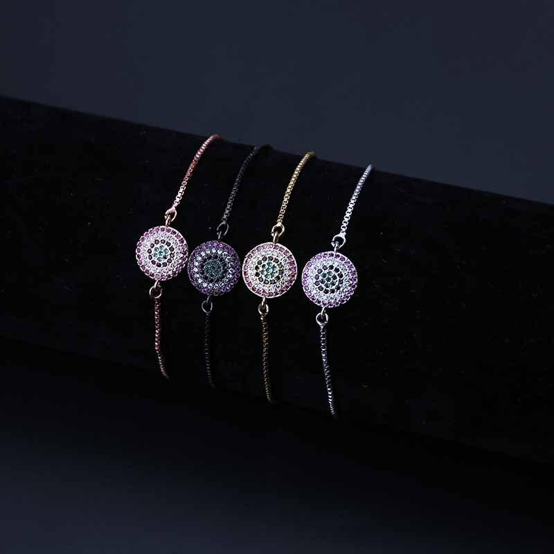 1pc Micro Pave Zircon Pink Crystal Bracelet