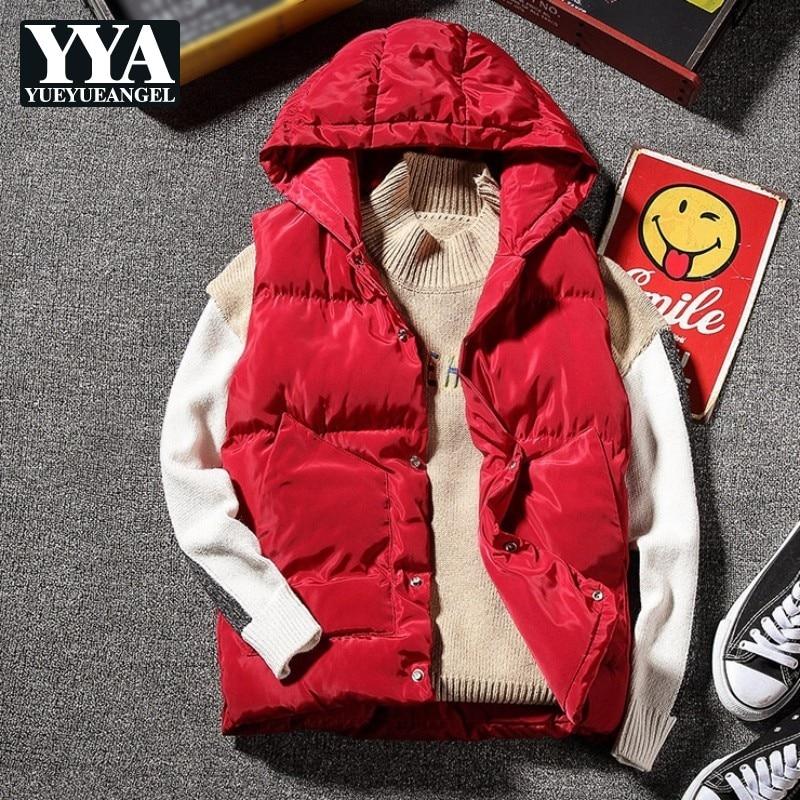 Nouveau décontracté mode sweat à capuche sans manches vestes d'hiver hommes gilet bodycooler Parka taille manteau épais chaud coréen pardessus Erkek Yelek