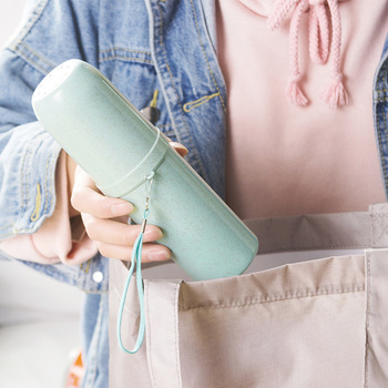 Travel Toothbrush Case Portable Plastic Tooth Mug Toothpaste Cup Toothbrush Travel Accessories portable tooth mug towel toothbrush toothpaste storage bottle holder w strap pink