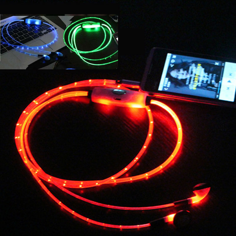 HANGRUI Luminous Glowing Earphone LED Night Light In ear earphones Flat Earbuds Glow in the Dark Headset For iphone mobile phone