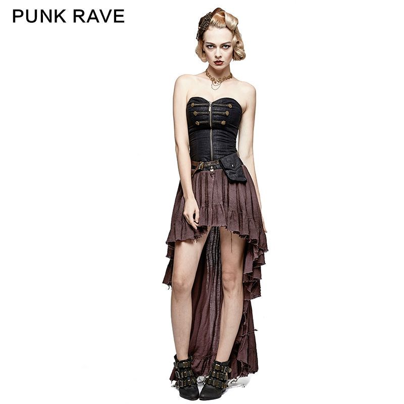 PUNK RAVE Steampunk Women Victorian Evening Party Dresses Gothic Sexy Asymmetric Corset Dress Cosplay Stage Costume Dress