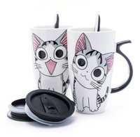 600ml Creative Cat Ceramic Mug With Lid And Spoon Cartoon Milk Coffee Tea Cup Porcelain Mugs