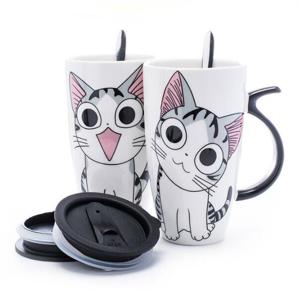 600ml Creative Cat Ceramic Mug With Lid and Spoon Cartoon Milk Coffee Tea Cup Porcelain Mugs