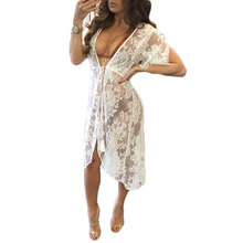Sexy Lace Crochet See Through Beach Dress Cover Up Robe de Plage Swimsuit Cover Up Saida de Praia longa Women Bathing Suit Tunic