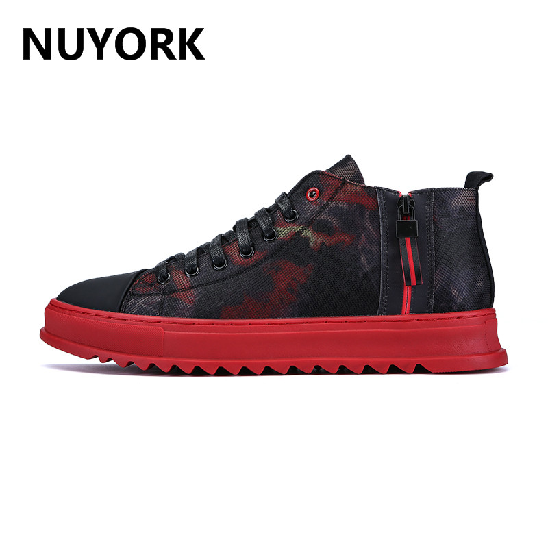 NUYORK Men shoes high top sport sneakers athletic outdoor zip slip shoes spring leisure leather footwear walking hombre 2017brand sport mesh men running shoes athletic sneakers air breath increased within zapatillas deportivas trainers couple shoes
