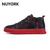 NUYORK Men Shoes High Top Sport Sneakers Athletic Outdoor Zip Slip Shoes Spring Leisure Leather Footwear