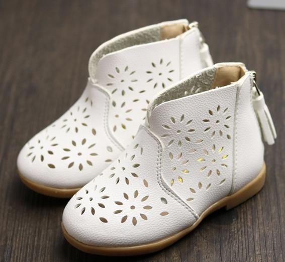New Children's Shoes Autumn And Winter Little Girl Princess Beef Tendon Bottom Boots Zipper Hollow Girls High-top Shoes Baby Gir
