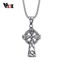 Vnox Celtic Cross Pendant Men Necklace High Quality Stainelss Steel Cool Punk Jewelry 24