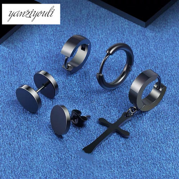 5 Pcs set Fashion BAr Black Cross Round Stainless Steel Earings Set For Women Men Punk.jpg 350x350 - 5 Pcs/set Fashion BAr Black Cross Round Stainless Steel Earings Set For Women Men Punk Gothic Barbell Stud Earring Oorbellen