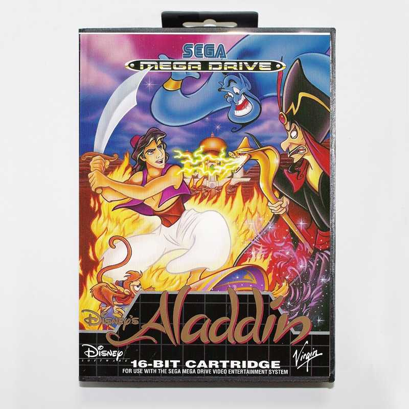 Sega MD games card - Aladdin with box for Sega MegaDrive Video Game Console 16 bit MD card