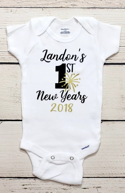 Customize 2019 My first New Years kids t shirts birthday baby shower  bodysuit onepiece romper Outfit ffc02f5d5204